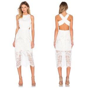 X by NBD Leila White Lace Cut Out Midi Dress